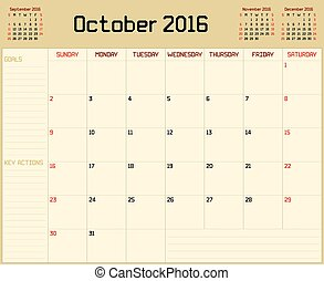 Year 2016 October planner - A monthly planner calendar for...