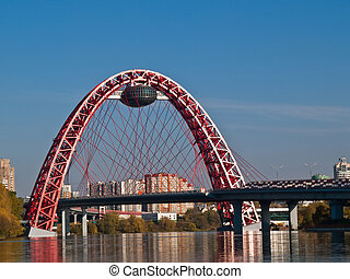 Modern bridge - The new unique bridge in Moscow, Russia