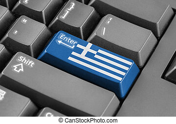 Enter button with Greece Flag