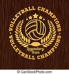 Gold volleyball emblem on the wooden texture.