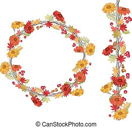 Round season wreath with autumn lea - Seamless pattern brush...