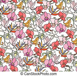 Seamless bright floral pattern with