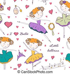 ballerina and accessories seamless pattern - Seamless...