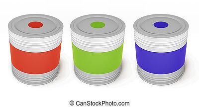 Set of paint cans different color. 3d.