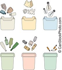Sorting waste. Isolated objects