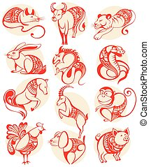 Chinese papercut Zodiac icons - Zodiac symbols for your...