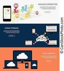 Flat designed banners for Wireless Connection and Cloud...