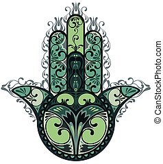 Decorative vector hamsa - Vector Indian hand drawn hamsa...