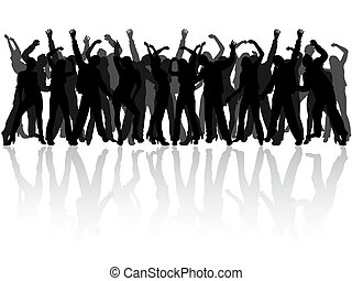 happy people silhouettes - vector illustration of danccing...