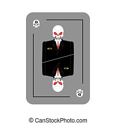 Playing card death. Skeleton in business suit. New concept of playing card. All cards wins, brings death.