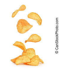 potato chips in the air on an isolated white background