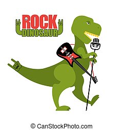 Rock dinosaur. Tyrannosaurus is singing into microphone. Dino T-Rex with an electric guitar. Green toothy Monster sings. Prehistoric animal in image of rock musician. Tail rock hand symbol.