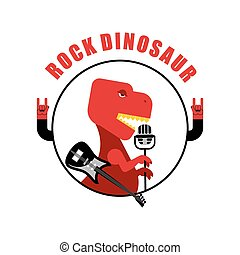 Rock dinosaur emblem for old rock musicians. Tyrannosaurus is singing song in vintage microphone. Jurassic beast with an electric guitar. Ancient Creeper in manner of rock musician.