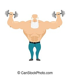 Old Santa trains with free weights. Old man with a grizzled beard makes weight training exercises. Old bodybuilder in jeans. Healthy lifestyle for seniors. Morning exercises for seniors.