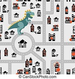 Aggressive dinosaur destroys urban building seamless pattern...