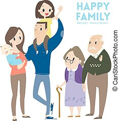 big happy family cartoon illustration - big happy family...