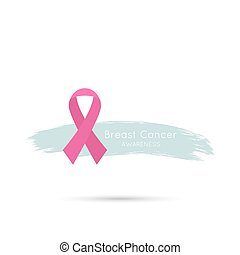 Breast Cancer Awareness Ribbon and brush stroke. vector...