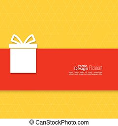 Gift box on narrow banner, ribbon. Abstract background with...
