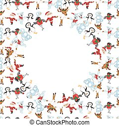 Round frame with Christmas characte