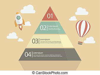 Pyramid Chart Infographic in Flat Style Design
