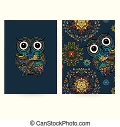 Set of brochures in doodle ornamental style with ornamental owl. Beautiful frames and backgrounds