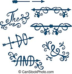 Vector set. calligraphic vintage design elements