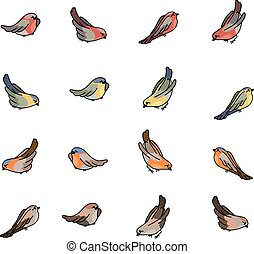 Set with different small birds - bullfinch, tit, robin and...