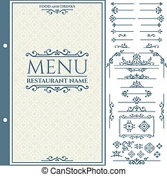 Vector set of calligraphic design elements for Restaurant Menu and Design Template.