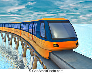 monorail train - Futuristic monorail train on a background...