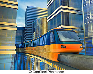 monorail train - Futuristic monorail train among the...