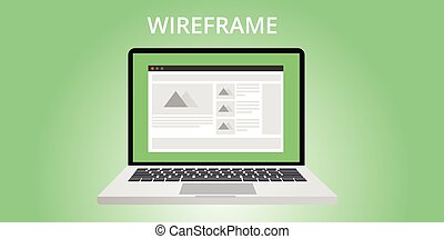 website wireframe development use computer notebook
