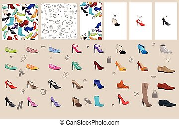 Set with woman shoes For fashion design, announcements,...