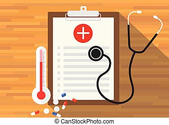 medical record health in clipboard vector flat design