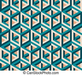 Vector Seamless Isometric Hexagonal Cube Structure  Vintage Pattern