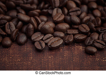 Close up of dark roasted coffee beans