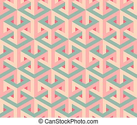 Vector Seamless Isometric Hexagonal Optical  Illusion Pattern in Pink and Green