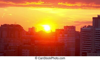 Timelapse of beautiful Cityscape Sunset at Novosibirsk....