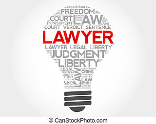 Lawyer bulb word cloud concept