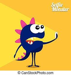 Monster Taking Selfie Photo on Smart Phone