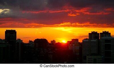 Timelapse of amazing Cityscape Sunset at Novosibirsk. -...