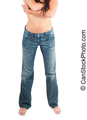 Nacked woman front - Front shot of pretty girl her jeans