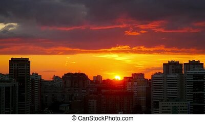 Timelapse of amazing Cityscape Sunset at Novosibirsk like a fire