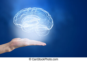 Mental health concept - Close up of human hand holding brain