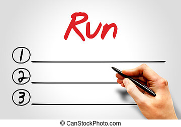 Run blank list, fitness, sport, health concept
