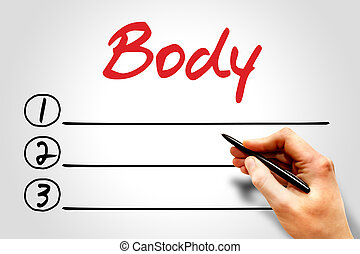 Body blank list, fitness, sport, health concept