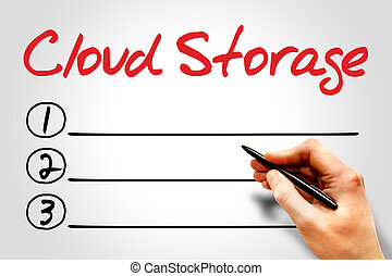 Cloud Storage blank list, business concept