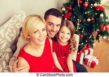 happy family at home - family, christmas, x-mas, winter,...