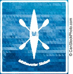 Whitewater paddle sports illustration. White silhouette on deep blue background. Boat symbol woth crossed paddles.