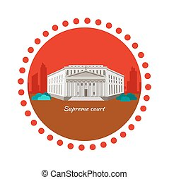 Supreme Court Concept Icon Flat Design - Supreme court...
