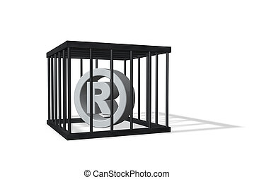 registered trademark symbol in a cage on white background -...